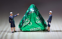 Challenge Friday - Miniature.   The Police were investigating the Case of the Missing Triangles as I was diappointed to find that there was only one green triangle in the bag of Quality Street.  IMG_1672 (alisonhalliday) Tags: macromondays triangles littlepeople sweets police green macro closeup canoneosrp canonef100mmf28lmacroisusm challengefriday cf20 miniature