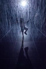 Karate Kid in the Rain (Pat Charles) Tags: rainroom rainroomaus wet rain water dark room silhouette silhouettes stkilda saintkilda melbourne victoria australia jackalope pavilion art gallery museum installation drops raining zombie walkingdead shaun shaunofthedead zombieland worldwarz nikon contrejour light grate street