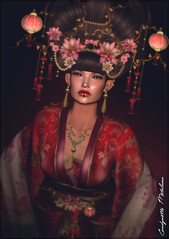 Impératrice de Chine ... (Candynette Metaluna) Tags: china chinese newyear new year empress japan japanese women clothes goddess maitreya belleza slink isis hourglass appliers mesh necklace earrings headpiece lotus flowers jewels shoes hairs kimono freya venus irrisistible shop design fashion sl second life secondlife roleplay rp costume princess silk beauty fantasy blossom tentation