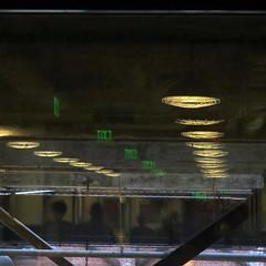 subterranean (Jim_ATL) Tags: warehouse people green neon exit reflection night atlanta explored