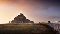 Le Mont-Saint-Michel (Bernd Schunack) Tags: mont saint michel sunset france bretagne normandie fantastic light silhouettes bridge perspective water sea sky clouds rain panasonic lumix gx9