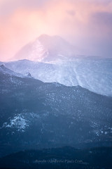 Cold Morning on Longs Peak, Rocky Mountain National Park (RondaKimbrow) Tags: longspeak mountain sunrise rockymountainnationalpark peak cold snow estespark colorado landscape coloradoimages coloradophotography coloradolandscape rondakimbrowphotography frommycarwindow