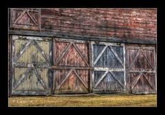 The Doors (* Gemini-6 * (on&off)) Tags: hdr framed doors barn building architecture texture grit rust rustic repeatingpatterns red peeling