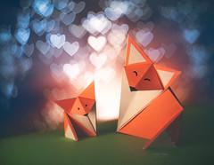 Little Foxes ♥ (Carla Mountain Spirit) Tags: canon carlafreire bokeh fox hearts helios58mm love miniatures origami vintagelens macromondays triangle