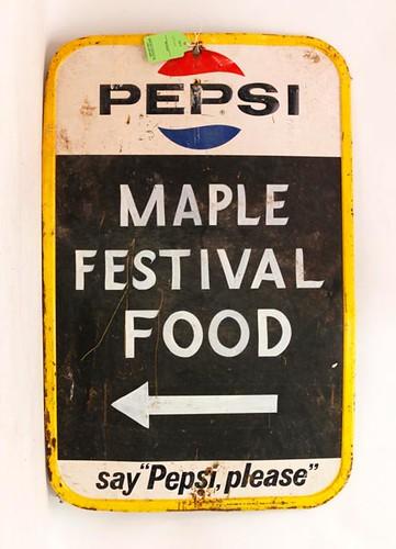 Pepsi Cola Tin Maple Festival Adv. Sign ($336.00)