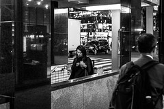 Late night commuters (Piotr_Lewandowski) Tags: ginza tokyo japan japanese girl woman asia nippon commuter street streetphotography urban city alone lonely candid blackandwhite blackwhite bw bnw night light nightlights reflection monochrome mono