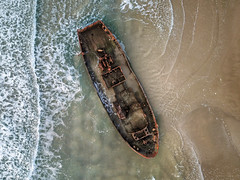 In between (FX-1988) Tags: sea wreck ship boat drone aerial aerialphotography ocean wave lines israel