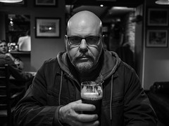 In the pub. (CWhatPhotos) Tags: cwhatphotos flickr artistic art photographs photograph pics pictures pic picture image images foto fotos photography that have which with contain olympus omd em1 mk ll micro four thirds 43 camera portrait inthe pub drink dark pose shadows light shadow man male goatee public house drinking