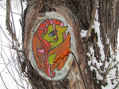 nature is here ( series of painting on trees) (VERUSHKA4) Tags: canon park kuskovo tree trunk nature painting europe russia moscow ville city vue view winter season hiver art january day branch skin snow neve brown orange white animal astoundingimage