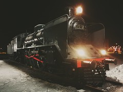 Old steam engine on a winter night. (k009034) Tags: steamengine engine old retro night winter snow light finland cold vintage