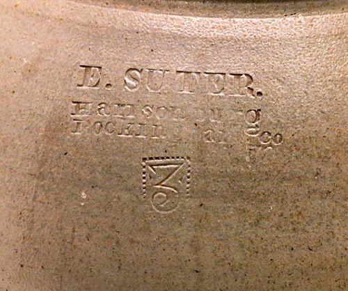 "Rare E. SUTER, stamped ""Harrisonburg, Rockingham Co."" 3 gal. Ovoid stoneware jar ($2,016.00)"