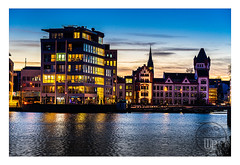 new vs. old architecture (Sony_Fan) Tags: phönixsee lake germany dortmund evening light lightroom blue hour architecture old new sony alpha 24105mm landscape cityscape water waterline thomas umbach schwelm photographer sunset