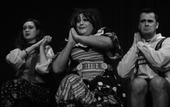 Holybourne Theatre, January 2020 (Wendy G Davies) Tags: candid theatre hanselandgretel blackandwhite monochrome mono panto rehearsal dame pantomime