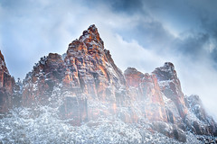Upheavel (Chris Williams Exploration Photography _) Tags: zion zionnationalpark nationalpark nature snow fog foggy mountains mountain thewatchmen fujifilm fujixt2 chriswilliams utah southernutah southwest