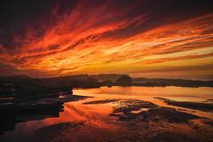 Harhoura Sunset (aminefassi) Tags: 30mm africa afrique aminefassicom copyright dmcgx8 gx8 m43 maroc marueccos metabones mft microfourthirds panasonic morocco landscape seascape sand water sunset beach rocks