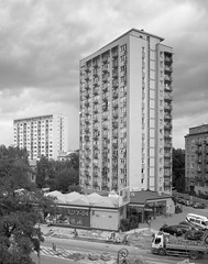 Warsaw, Poland. (wojszyca) Tags: intrepid camera 4x5 largeformat fujinon sw 90mm cropped ilford hp5 hc110 163 epson v800 city urban skyline towerblock architecture socialist modernism residential warsaw warszawa