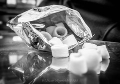 Day 13. (lizzieisdizzy) Tags: food snack snacks hulahoops potatosnack blackandwhite blackwhite black monochrome mono monotone monochromatic tabletop reflection reflections reflect packet foil openpack circular crisp crisps tasty crunchy flavour