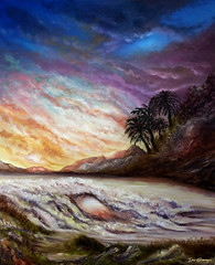 The Alcove - Oil Painting, by Dan Seitzinger (d.m.s. studios) Tags: beach tropical island sunset oilpainting art artwork palmtrees byartist danseitzinger