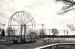 Winter Wheel (gregador) Tags: conneautlake conneautlakepark ferriswheel blackandwhite barren winter