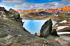 Iceland ~ Landmannalaugar Route ~  Ultramarathon -  Climbing the Lava  ~ (Onasill ~ Bill Badzo - New Format) Tags: iceland landmannalaugar route trail hiking snow mountain nature sky clouds onasill landmark historic hdr landscape july reykjavík ultramannalaugar outdoor trekking volcano lava travel tourist river canyon frame border photo serene rapids sunset golden hill mountainside cliff crag grassland field rock soil