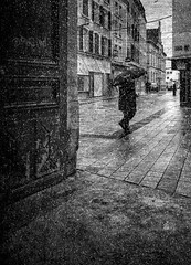 Want to be free, it is also wanting others free. (Fan.D & Dav.C Photgraphy) Tags: city people building weather umbrella outdoors day exterior no structure full length built life street blackandwhite snow wet rain silhouette architecture season walking environment protection bwphotography lifestyles blackandwhitestreetphotography blackandwhitephotography urbainsphotographie urbainsstreet