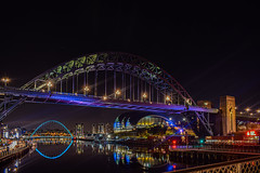 First edit with lightroom. Plenty room for improvement with my camera positioning and editing but not a bad first go! (Graham Watson6) Tags: reflections reflection tyne tynebridge newcastle england river bridges bridge ncl nikon lights