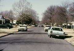 American neighborhood, 1980s slide (lumierefl) Tags: street neighborhood children playing cars parked winter peaceful usa unitedstates northamerica