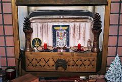 A Winter Ritual (Jetcraftsofa) Tags: nikonf3 nikkor5014 sunpak20srflash cinestill50 35mm filmphotography flashphotography slr analogcameraalter tarot key20 waitesmith candles fire quartz qabalah solstice winter greenman fireplace sword cup brass ritual