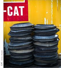 CAT (jwvraets) Tags: hamilton burlington beachstrip shippingcontainer yellow tires sidewalls red redrule opensource rawtherapee gimp olympus omdem5 olympuszuikoadapted4340150mm14056