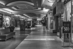 Future of malls (Jan.Timmons) Tags: ©jantimmons2020 malls emptystores niftyfifty pacificnorthwest storesclosed emptymall futureofmalls blackandwhite 50mm nikkor