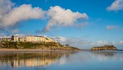 Tenby South Beach,  Pembrokeshire, Wales. (hemlockwood1) Tags: tenby south beach reflections pembrokeshire wales holiday sun sea sand hotels tourism holidays castle island sky
