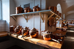 Antique kitchen for professional use (Brambilla Simone Fotografo) Tags: ancient antique architecture background castle cook cooking cookware copper culture decor decoration design domestic equipment europe food furniture hanging history home house indoor interior kitchen kitchenware medieval metal nobody object old pan pans pot pots retro room rural rustic saucepan stove style table tools traditional utensil vintage wall wood wooden