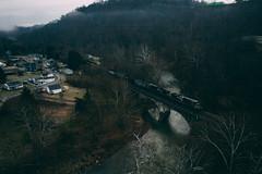 First train in Clarksville (benpsut) Tags: 9201 djimavic2pro drone flying mga mgad mavic mavic2pro ns ns9201 nsmonline norfolksouthern sky aerial aerialphotography coal coalfields creek dronephotography railroad trains