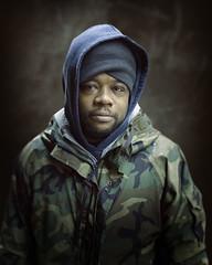 Thomas (mckenziemedia) Tags: man portrait portraiture face hood coat people humanity chicago city urban street streetphotography homeless homelessness