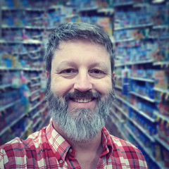 Selfie at the Supermarket (swampzoid) Tags: man smiling smile bags eyes white gay beard teeth selfie self portrait blue background supermarket market store inside older grocery 57yearsold oldman square crop myself me swampzoid markdenton person happiness product commercialism 57 years old face gray hair whiteman gayman smilingman kind nice looking gentleman products commercial aisle department departmentalize perspective balance symmetry