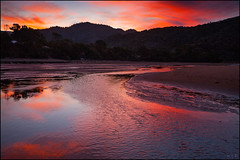 Ablaze (katepedley) Tags: smoke fires fire red sunset newzealand new zealand southisland south island aotearoa abeltasman abel tasman national park nationalpark np nz tasmannz canon 5d 1740mm polariser reflection lagoon estuary water evening dusk aussie australian bushfire