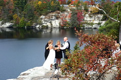 Wedding day on Minnewaska Lake loop trail for the lucky couple! (neil.gilmour) Tags: minnewaska state park lake loop train wedding marry marriage bride groom white gown vest bald blue fall colors beautiful day photographer officiant tripod