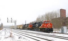 Running again (Michael Berry Railfan) Tags: cn canadiannational train freighttrain unittrain potashtrain canpotex cnb730 cn730 sthenri montreal montrealsub quebec winter snow ge generalelectric gevo es44ac