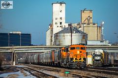 Westbound BNSF Road Switcher Train at North Kansas City, MO (Mo-Pump) Tags: train railroad railfan railroader railway railroading railroads railfanrailroader locomotive