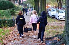 Trick-Or-Treating On Greenway North (Joe Shlabotnik) Tags: claire 2019 everett madeleine halloween october2019 afnikkor50mmf14d