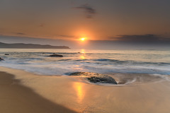 Golden Hour Sunrise (Merrillie) Tags: daybreak goldenhour landscape sun nature water sea waves sky northpearlbeach rocky newsouthwales rocks earlymorning morning pearlbeach coast ocean dawn sunrise nsw coastal australia outdoors waterscape seascape centralcoast clouds seaside