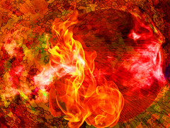 Respect Fire (soniaadammurray - On & Off) Tags: digitalart art myart visualart experimentalart absractart contemporaryart artchallenge fire respect elements shadows reflections positivity positiveflagsofnations picmonkey photoshop lightroom orange