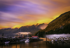 Gold cloud from peak (NickHang:)) Tags: gold peak mountain hike hill cloudy cloud sky smooth reflectrion outside landscape ship boat tree nikon canada view bright pier blue sunnset ocean sea water