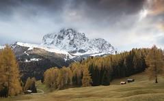 Sassolungo (Kevin.Grace) Tags: dolomites dolomiti italy sassolungo trees autumn snow clouds landscape mountain