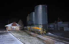 Leslie Depot (GLC 392) Tags: jl1 road old theoldroad jail adbf emd gp9 jackson lansing railroad railway train depot leslie 1758 1760 adrian blissfield mi michigan snow night time flash flashing silo elevator cold