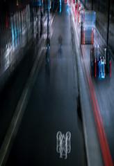 Bicycle lane (ainz1607) Tags: bicycle bike cycle lane night lights urban icm london double olympus omd em10 25mm 50mm nightime road roads street