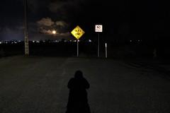 Dead End (432fz) Tags: moon nighttime road signs tehachapi ca