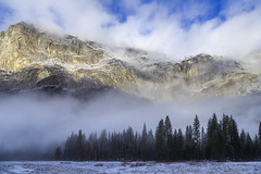 Foggy Meadow - Yosemite Valley (phonnick) Tags: canon eosr yosemite yosemitenationalpark nationalpark california landscape mountains clouds fog valley trees winter mirrorless