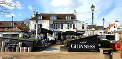 """The """"Barmy Arms"""" (standhisround) Tags: publichouse pub building twickenham england greaterlondon uk telegraphtuesday htt riverside barmyarms 17thcentury tavern people inn telegraphpole sign lamps houses"""