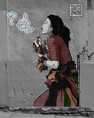 Streetart (hans pohl) Tags: espagne vigo galice art noiretblanccoloré blackandwhite recoloured